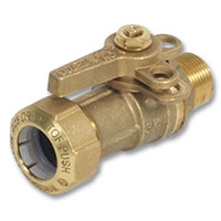 6616 - Zetco WaterMarked Ball Valve Male x TOF PE Lockable Lever Handle