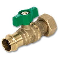 6301 - Press-fit x Nut & Tail WaterMarked DZR Brass Ball Valve