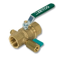 2128 - Zetco HVAC WaterMarked DZR Brass Ball Valve F&F c/w Mini Ball Valve
