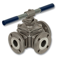 4072 - Zetco 3-Way L Port Stainless Steel Flanged Ball Valve