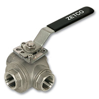 4014 - Zetco 3-Way T Port Stainless Steel Ball Valve