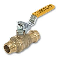 6209 - Zetco AGA Approved DZR Brass Ball Valve Press-fit x Male Lockable