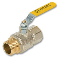 1133 - Zetco AGA Approved Brass Ball Valve M&F Lever Handle