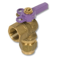 1249 - Zetco WaterMarked DZR Brass 90° Ball Valve FI x Flared Lockable Lilac Lever Handle