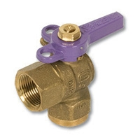 1242 - Zetco WaterMarked DZR Brass 90° Ball Valve F&F Lilac Lockable Handle