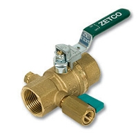 2129 - Zetco HVAC WaterMarked DZR Brass Ball Valve F&F Lockable Lever Handle & Mini Ball Valve