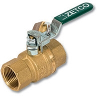 1297 - Zetco WaterMarked DZR Brass Ball Valve F&F S/Steel Ball & Lockable Lever