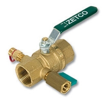2127 - Zetco HVAC WaterMarked DZR Brass Ball Valve c/w Test Plug & Mini Ball Valve
