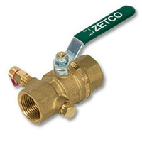2122 - Zetco HVAC WaterMarked DZR Brass Ball Valve c/w Test Plug