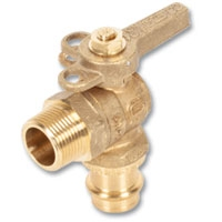 1263 - Zetco WaterMarked DZR Brass 90° Ball Valve Press-fit x Male Lockable Handle