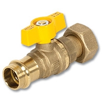 6302 - Press-fit x Nut & Tail AGA Approved DZR Brass Ball Valve